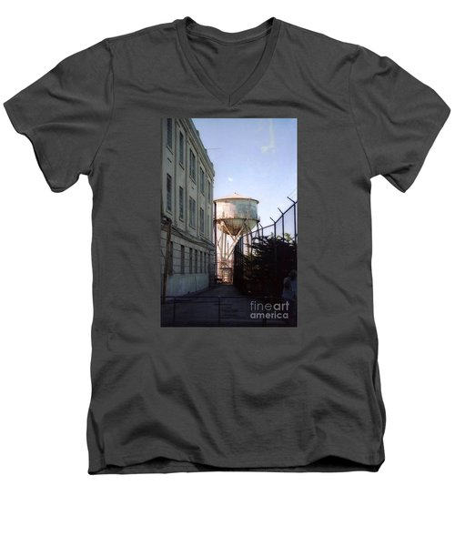 Alcatraz Water Tank  Men's V-Neck T-Shirt by Ted Pollard