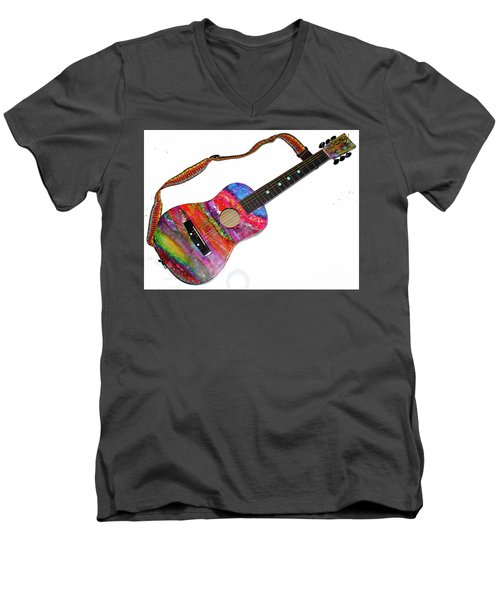 Alcohol Ink Guitar Men's V-Neck T-Shirt by Alene Sirott-Cope