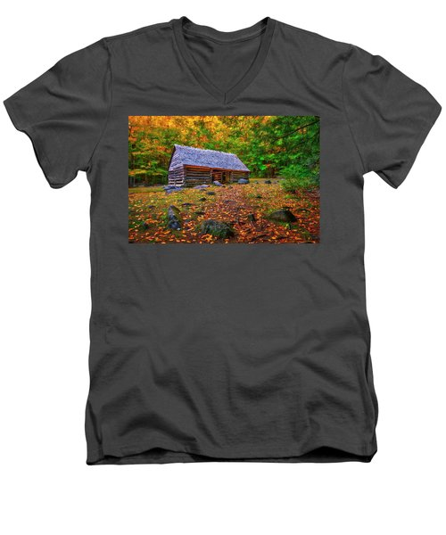 Alex Cole Cabin At Jim Bales Place, Roaring Fork Motor Trail In The Smoky Mountains Tennessee Men's V-Neck T-Shirt