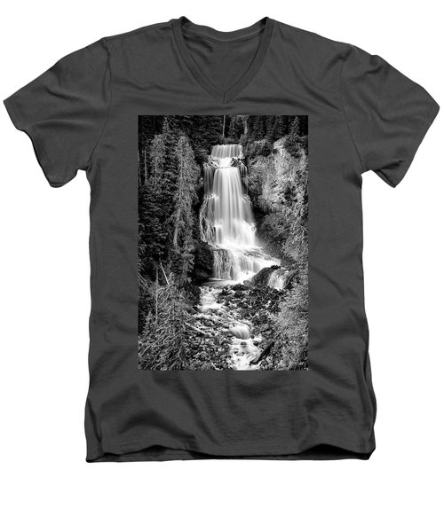 Men's V-Neck T-Shirt featuring the photograph Alexander Falls - Bw 1 by Stephen Stookey