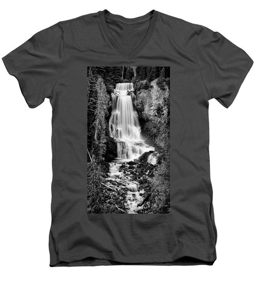 Men's V-Neck T-Shirt featuring the photograph Alexander Falls - Bw 2 by Stephen Stookey
