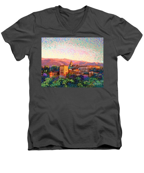Men's V-Neck T-Shirt featuring the painting Alhambra, Grenada, Spain by Jane Small