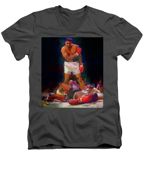 Men's V-Neck T-Shirt featuring the painting Ali by Ted Azriel