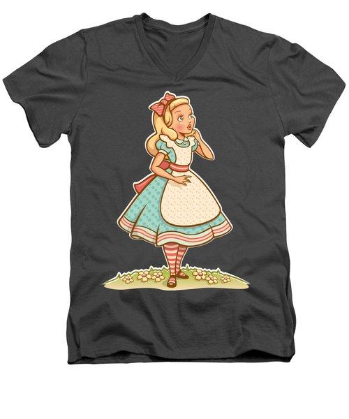 Alice Men's V-Neck T-Shirt by Elizabeth Taylor