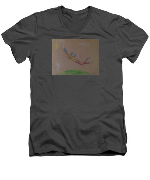 Men's V-Neck T-Shirt featuring the drawing Alien Chasing His Dreams by Similar Alien