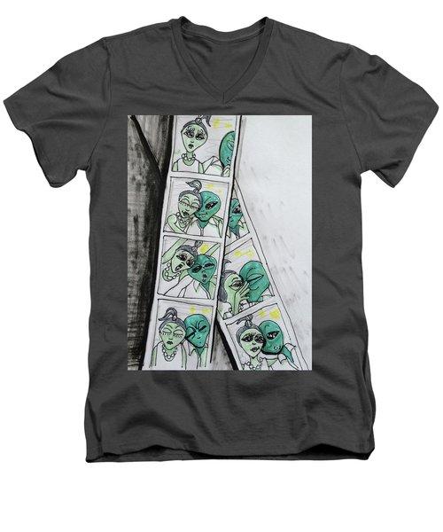 alien Photo Booth  Men's V-Neck T-Shirt