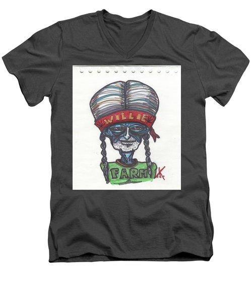alien Willie Nelson Men's V-Neck T-Shirt