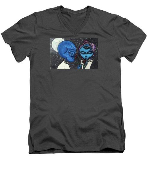 Aliens Love Flowers Men's V-Neck T-Shirt by Similar Alien