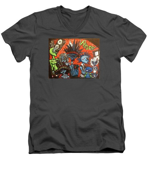 Men's V-Neck T-Shirt featuring the painting Aliens With Nefarious Intent by Similar Alien