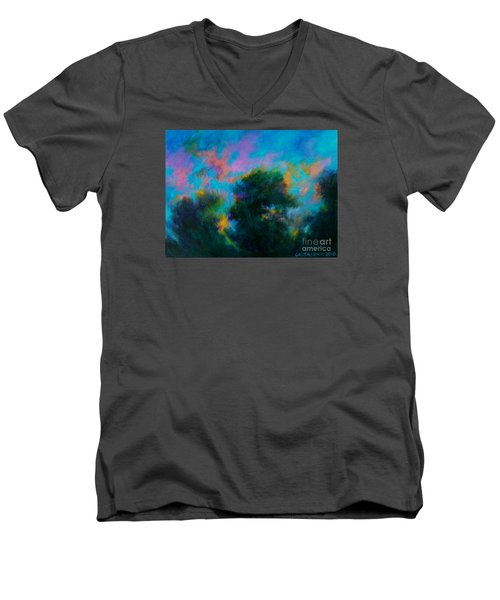 Men's V-Neck T-Shirt featuring the painting Alison's Dream Time  by Alison Caltrider