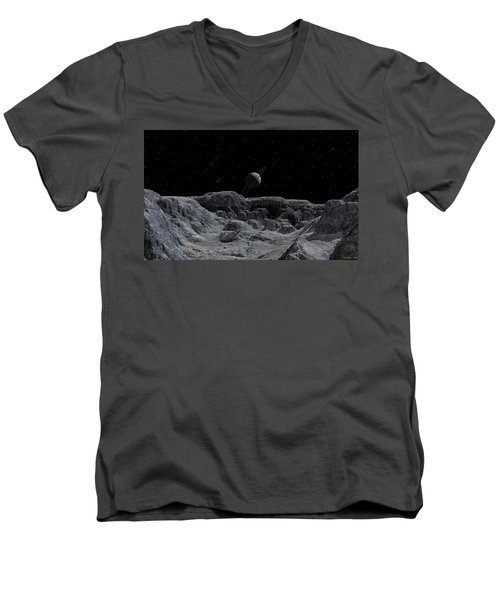 Men's V-Neck T-Shirt featuring the digital art All Alone by David Robinson