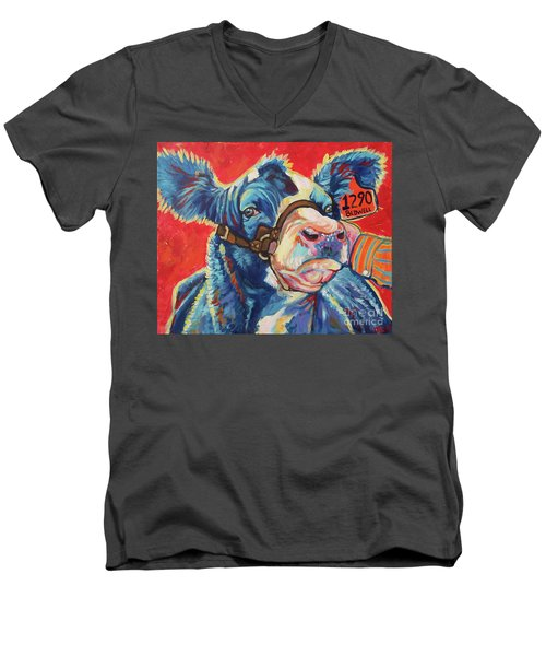 Men's V-Neck T-Shirt featuring the painting All Dolled Up by Jenn Cunningham