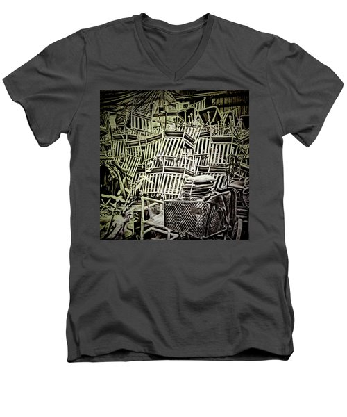 Men's V-Neck T-Shirt featuring the photograph All Piled Up by Lewis Mann