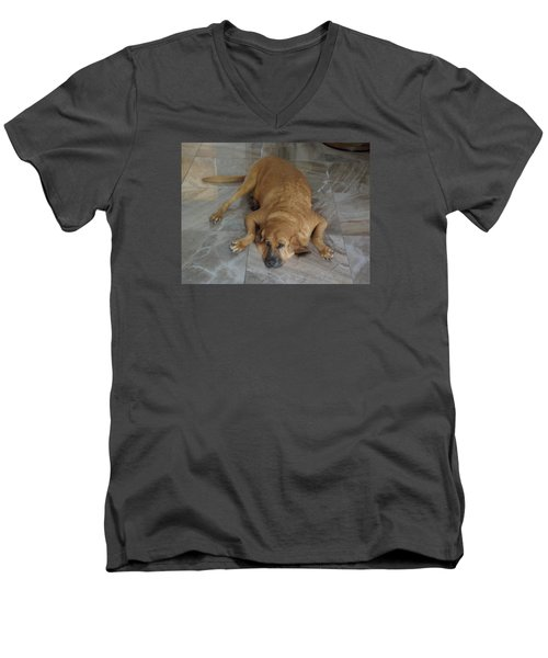 All Pooped Out Men's V-Neck T-Shirt by Val Oconnor