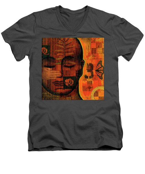 Men's V-Neck T-Shirt featuring the painting All Seeing by Gloria Rothrock