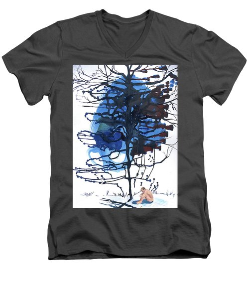 Men's V-Neck T-Shirt featuring the painting All That I Really Know by Rene Capone