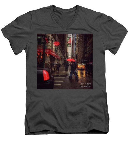 All That Jazz. New York In The Rain. Men's V-Neck T-Shirt