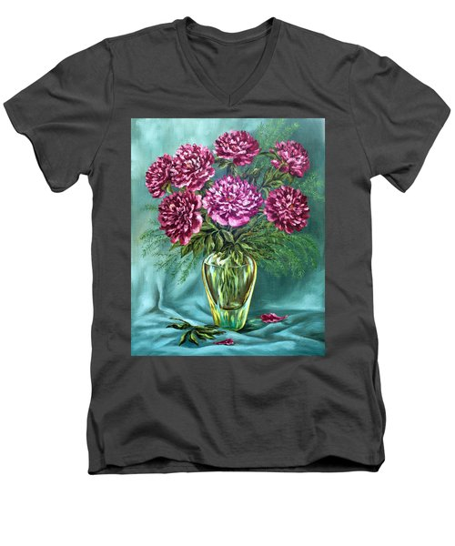 Men's V-Neck T-Shirt featuring the painting All Things Beautiful by Karen Showell