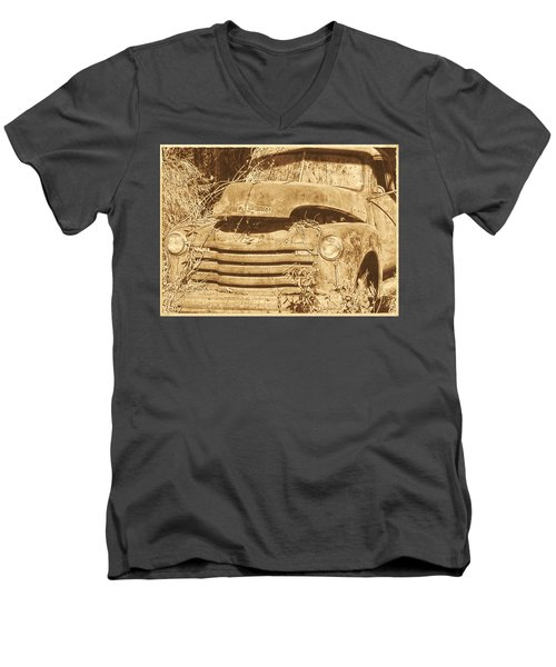 Men's V-Neck T-Shirt featuring the photograph All Used Up by Victor Montgomery