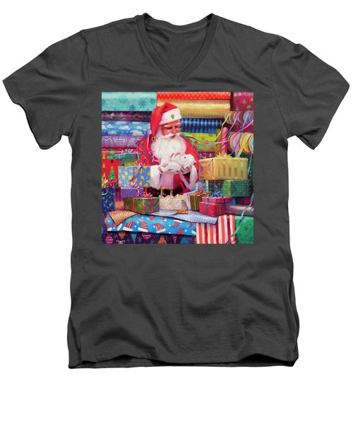 Men's V-Neck T-Shirt featuring the painting All Wrapped Up by Steve Henderson
