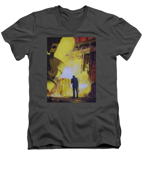 Allen Town Men's V-Neck T-Shirt by Vivien Rhyan