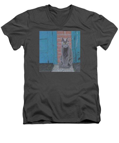 Alley Cat Men's V-Neck T-Shirt by Arlene Crafton