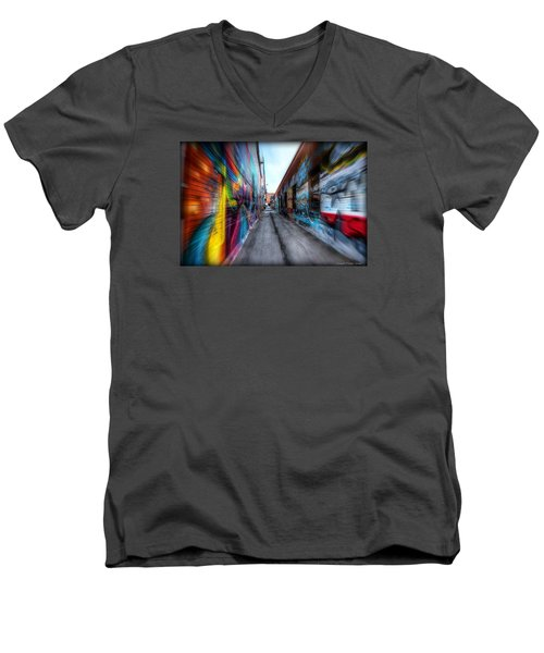 Men's V-Neck T-Shirt featuring the photograph Alley by Michaela Preston