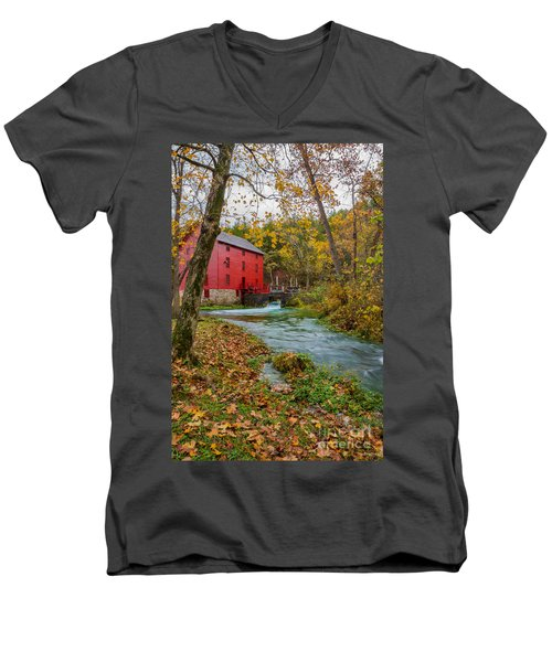 Alley Mill In Autumn Men's V-Neck T-Shirt
