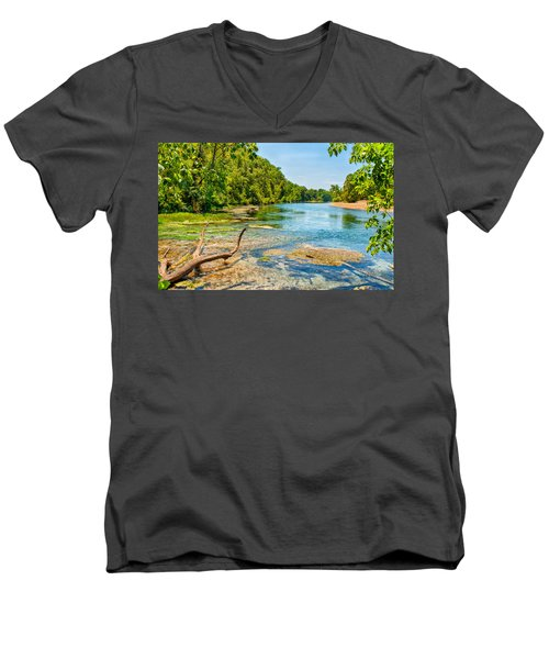Men's V-Neck T-Shirt featuring the photograph Alley Springs Scenic Bend by John M Bailey