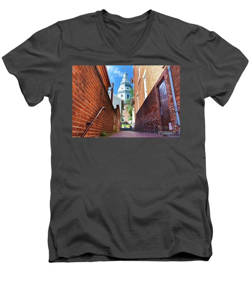 Alley View Of Maryland State House  Men's V-Neck T-Shirt