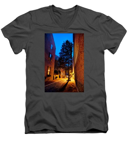Men's V-Neck T-Shirt featuring the photograph Alleyway by Mark Dodd