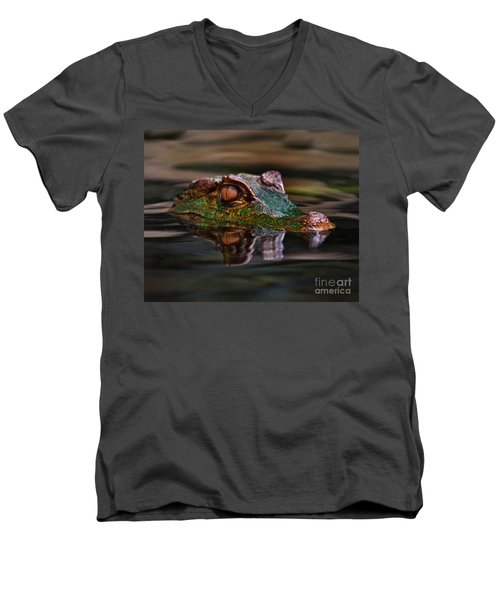 Alligator Above Water Reflection Men's V-Neck T-Shirt by Loriannah Hespe