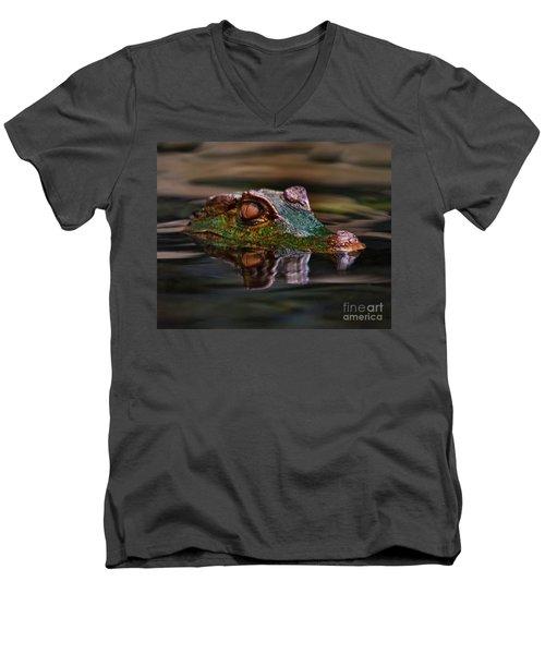 Alligator Above Water Reflection Men's V-Neck T-Shirt
