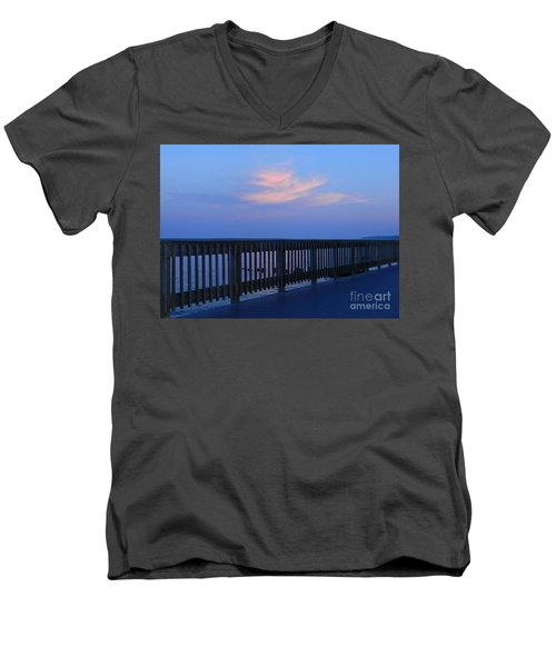 Men's V-Neck T-Shirt featuring the photograph Alls Quiet On The Beach Front by Emmy Marie Vickers