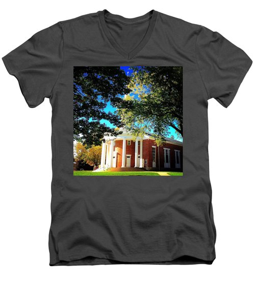 Alma College Dunning Memorial Chapel Men's V-Neck T-Shirt