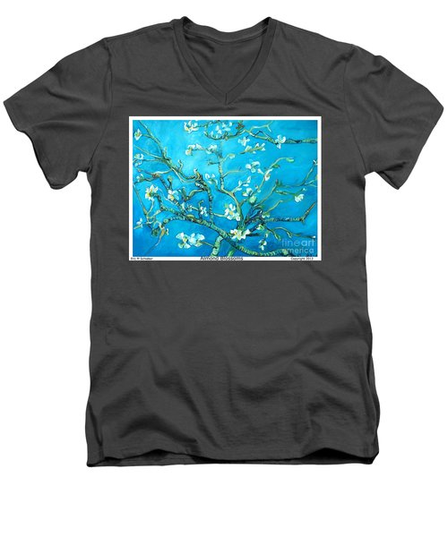 Almond Blossom Men's V-Neck T-Shirt by Eric  Schiabor