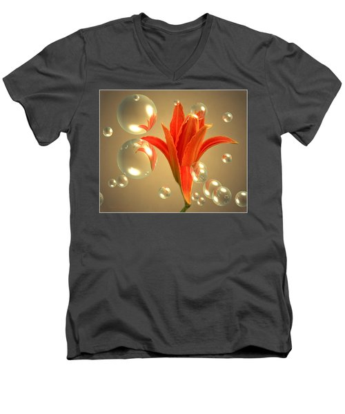 Men's V-Neck T-Shirt featuring the photograph Almost A Blossom In Bubbles by Joyce Dickens