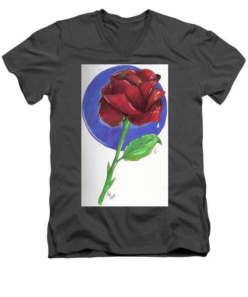 Almost Black Rose Men's V-Neck T-Shirt