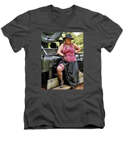 Almost Steampunk Men's V-Neck T-Shirt by VLee Watson