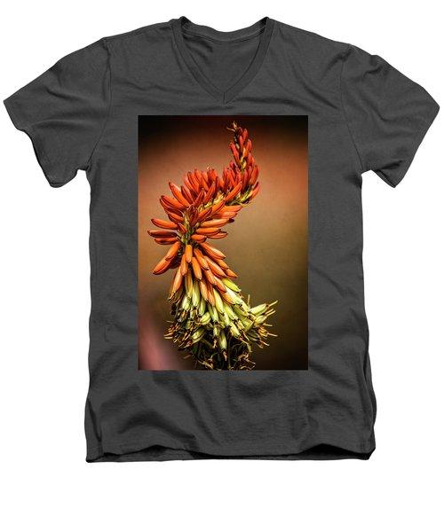 Men's V-Neck T-Shirt featuring the photograph Aloe Vera Twist  by Saija Lehtonen