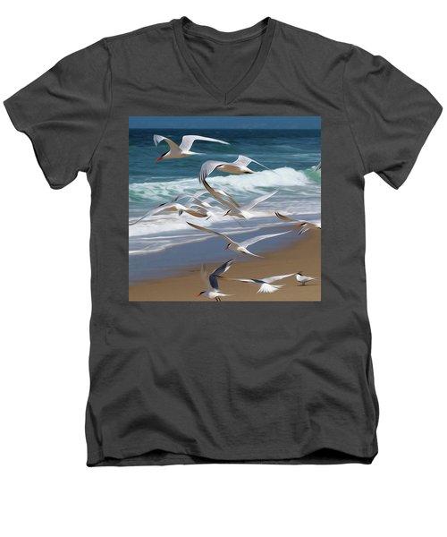 Aloft Again Men's V-Neck T-Shirt by Joe Schofield