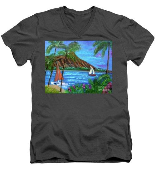 Aloha Diamond Head Men's V-Neck T-Shirt by Jenny Lee