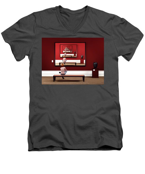 Men's V-Neck T-Shirt featuring the digital art Alone In My Gallery by Shinji K