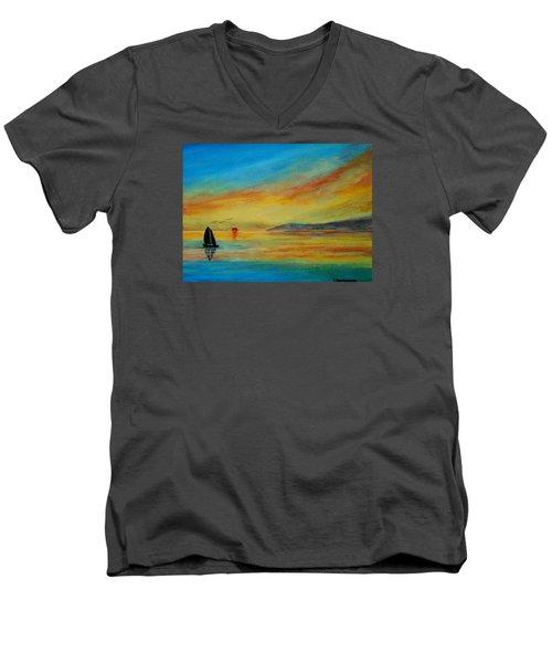 Alone In Winter Sunset Men's V-Neck T-Shirt