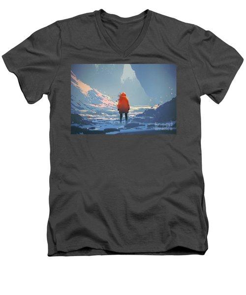 Alone In Winter Men's V-Neck T-Shirt