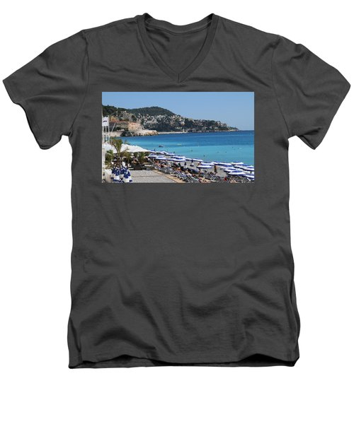 Men's V-Neck T-Shirt featuring the painting Along The Beach In Nice Looking Over Toward Monaco by Rod Jellison