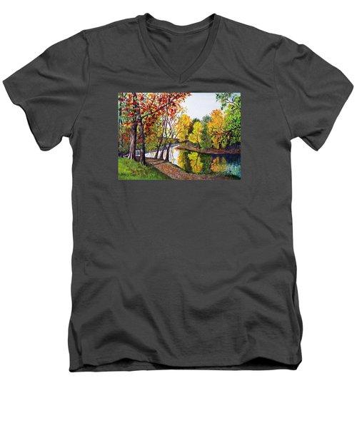 Along The Blanchard Men's V-Neck T-Shirt by Nancy Cupp