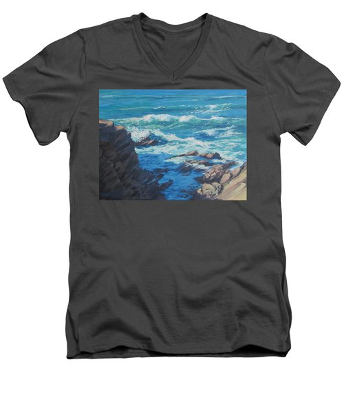 Men's V-Neck T-Shirt featuring the painting Along The Cliff by Karen Ilari