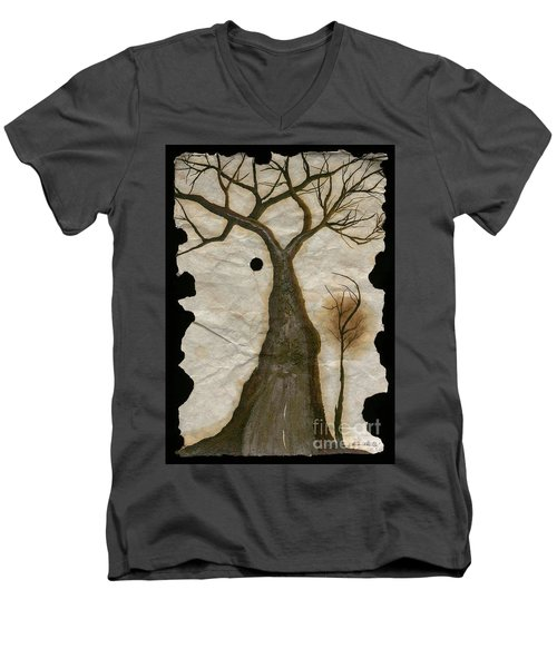 Along The Crumbling Fork In The Road Of The Tree Of Life Acfrtl Men's V-Neck T-Shirt by Talisa Hartley