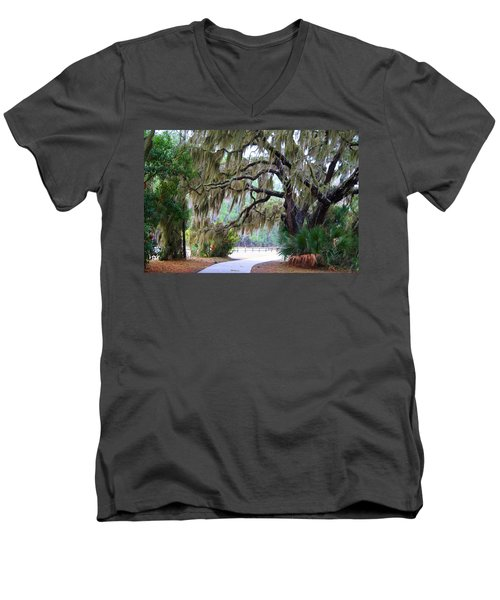 Men's V-Neck T-Shirt featuring the photograph Along The Path by Kathryn Meyer